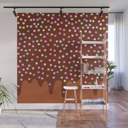 Dripping Melted chocolate Glaze with sprinkles Wall Mural