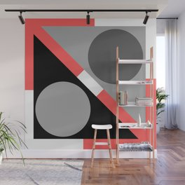 Living Coral and Geometric Symmetry Wall Mural