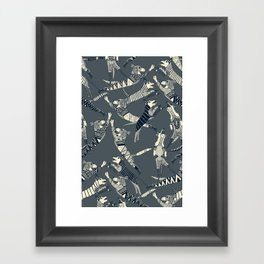 dog party indigo pewter Framed Art Print