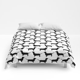 Dachshund Silhouette Black and White Pattern Comforters