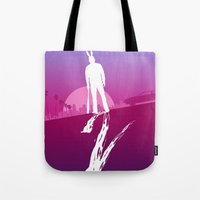 hotline miami Tote Bags featuring Enjoy The Violence - Hotline Miami 2 Minimalist Poster by Marco Mottura - Mdk7
