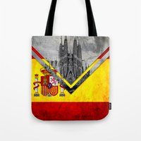 spain Tote Bags featuring Flags - Spain by Ale Ibanez