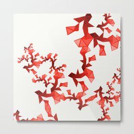 Red Geometric Metal Print