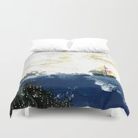 sailboat Duvet Covers featuring The Sailboat by Sarah Ogren