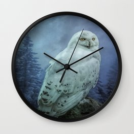 Moonlit Snowy Owl Wall Clock