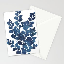 Blue watercolor maidenhair fern Stationery Cards