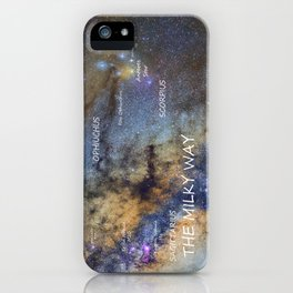 Star map version: The Milky Way and constellations Scorpius, Sagittarius and the star Antares. iPhone Case