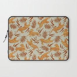 Vintage Golden Tigers Pattern / Big Cats, Leaves, Nature Laptop Sleeve