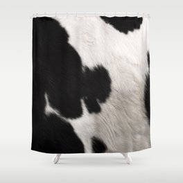 Cowhide animal skin art, spotty black Shower Curtain