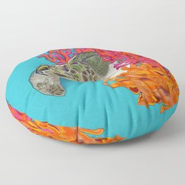 Sea turtle in Coral Floor Pillow