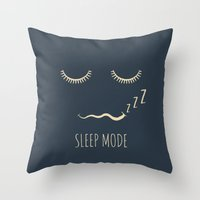 depeche mode Throw Pillows featuring Sleep Mode by Word Quirk