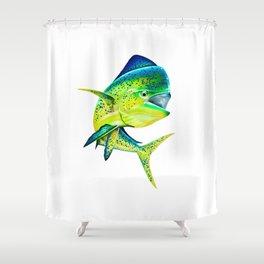 Mahi Time - Lit-Up Mahi Mahi, Dorado, Dolphin Shower Curtain