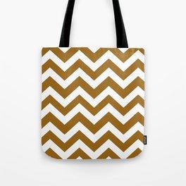Golden brown - brown color - Zigzag Chevron Pattern Tote Bag