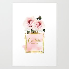 Perfume bottle with Flowers, Pink Roses, Make up, Blush Art Print