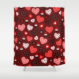 Valentine Hearts and Votive Candles Shower Curtain