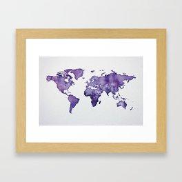 Purple World Map 01 Framed Art Print