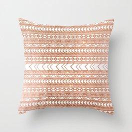 Geometrical tribal white rose gold faux glitter Throw Pillow