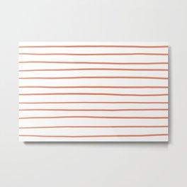 Fringe Orange, Orange Slice, Fiery Sky, Heirloom Tomato Orange Hand Drawn Horizontal Lines on White Metal Print