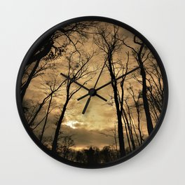 snow clouds above the wood Wall Clock