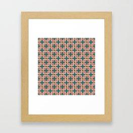 INTERLOCKING SQUARES, TEAL AND PEACH Framed Art Print