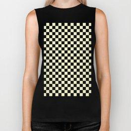 Black and Cream Yellow Checkerboard Biker Tank