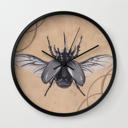 Realism Charcoal Drawing of Beetle Wall Clock