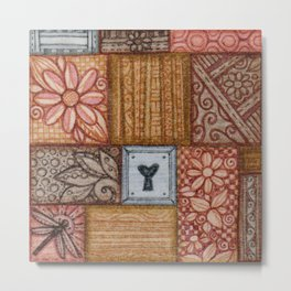 Patchwork Stitched Square Metal Print