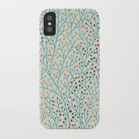 peacock iPhone & iPod Cases featuring Berry Branches – Turquoise & Gold by Cat Coquillette