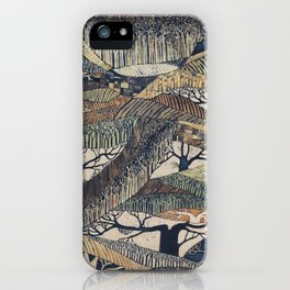 Marching Trees Batik, 1970's Nature Painting in Natural Tones iPhone Case