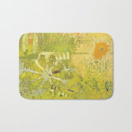 Olive Green Abstract Digital Art Collage Bath Mat