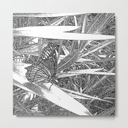 Wild Butterfly Sketch Metal Print