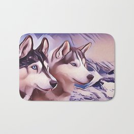 A Pair of Siberian Huskys Bath Mat