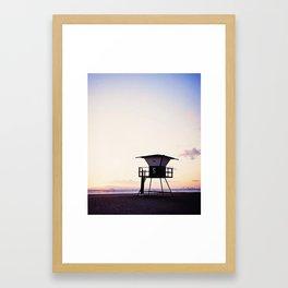 Vintage Lifeguard Tower Silhouette at Sunset, Sunset Beach, California Framed Art Print