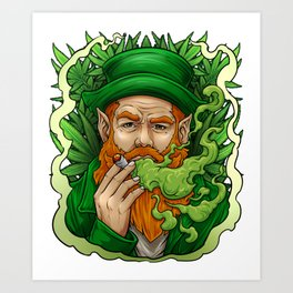 Leprechaun Smoking Weed St Patrick's Day Funny Art Print