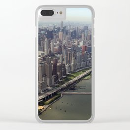 New York City near the river Clear iPhone Case