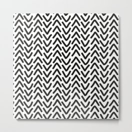chevron black on white Metal Print