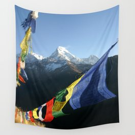 Nepal Buddhist prayer flags with mountain peaks Wall Tapestry