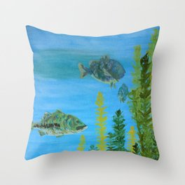 Lake - Right Panel in Tryptic Throw Pillow