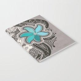 Teal Hawaiian Floral Tattoo Design Notebook