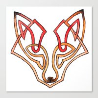 celtic Canvas Prints featuring Celtic fox - celtic knot by Ioreth
