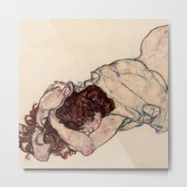 "Egon Schiele ""Kneeling Girl, Resting on Both Elbows"" Metal Print"