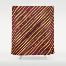 Fuchsia Golden Tiger Stripes Shower Curtain