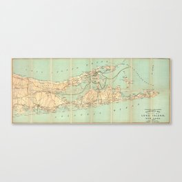 Vintage Road Map of Long Island (1905) Canvas Print