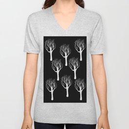 Black and White Forest Print Unisex V-Neck