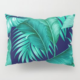 HAWAIIAN GARDEN TROPICAL LEAVES | turquoise navy Pillow Sham