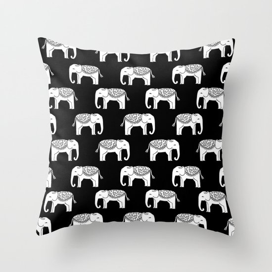 Black and white minimal linocut elephant pattern india pattern cute nursery Throw Pillow by ...