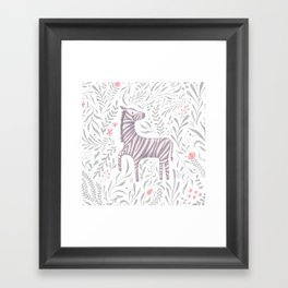 Zebra in Foliage Framed Art Print