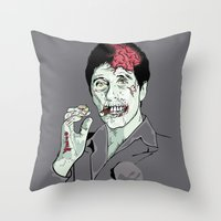 scarface Throw Pillows featuring Zombie Al Pacino Scarface  by Jane Hazlewood