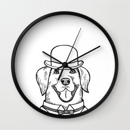 Portrait of a Labrador retriever with a bowler hat Wall Clock