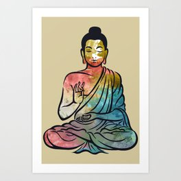 watercolor happy buddha  Art Print